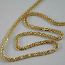 SOLID 18K YELLOW GOLD CHAIN NECKLACE, EAR SQUARE LINK 23.62 INCHES MADE IN ITALY image 2