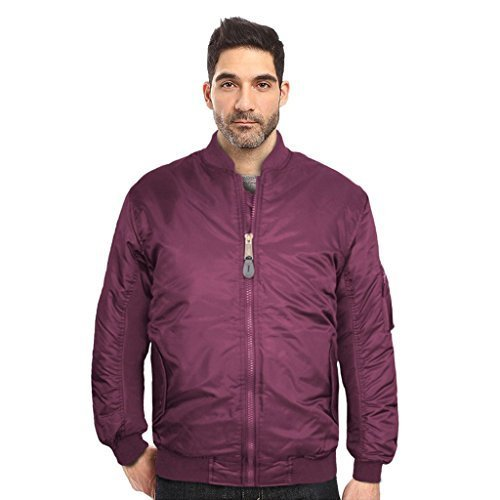 Maximos USA Men's Padded Water Resistant Reversible Flight Bomber Jacket (XS, Bu