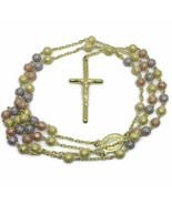 sand blast beads and cross 3 tone gold layer on Silver rosary - $116.02