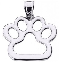 Polished 925 Sterling Silver Dog Paw Print Charm Pendant - $51.39
