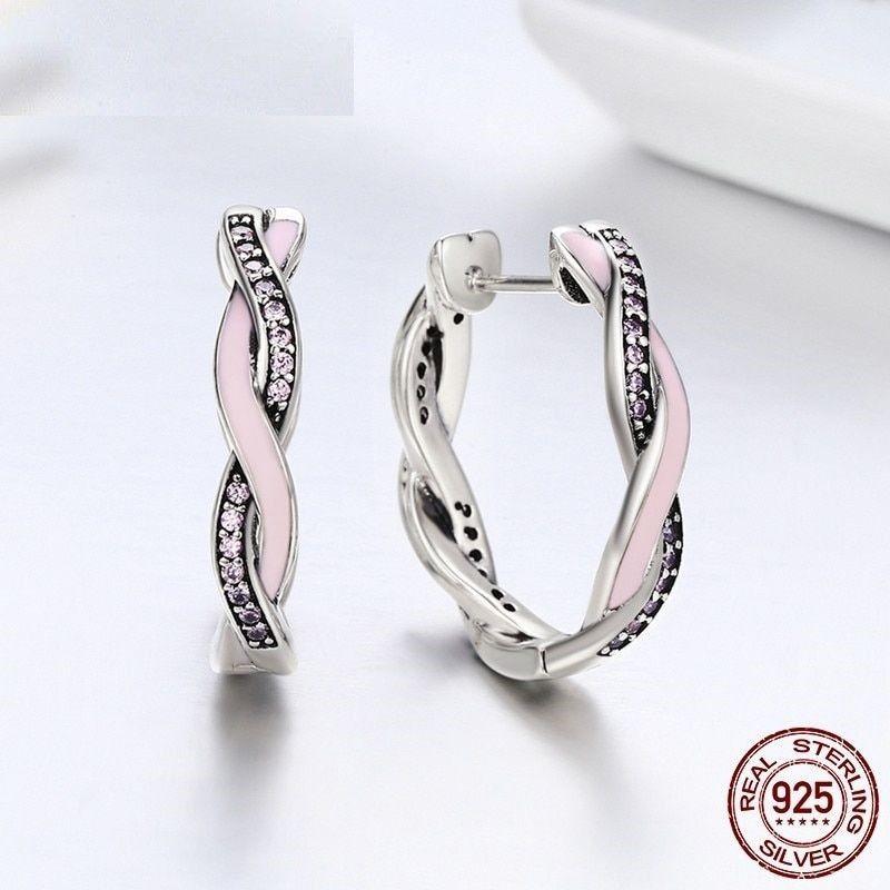 Women Fashion Earrings 925 Sterling Silver Pink Clear CZ Twist Fate Hoop Jewelry