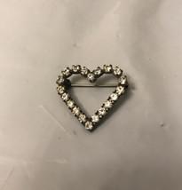 Vintage Heart Pin Rhinestone Silver Tone - $4.95