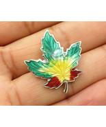 925 Silver - Vintage Color Changing Maple Leaf Brooch Pin  - BP1782 - $21.78