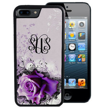 MONOGRAMMED RUBBER CASE FOR iPHONE X 8 7 6 5 PLUS LIGHT PURPLE ROSE - $12.98