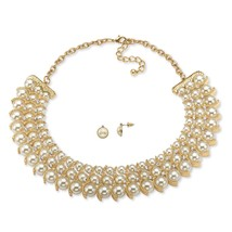 """PalmBeach Jewelry Simulated Pearl and Crystal 2-Piece Set in Gold Tone 17""""-19"""" - $14.50"""