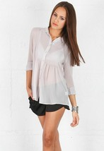NWT $230 Christina Ehrlich for JEUNESSE Arielle Silk Chiffon Top Pewter ... - $79.19