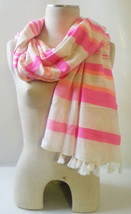 "STELLA & DOT Capri Wrap Scarf CORAL STRIPE Cotton/Acrylic Blend 44""x54"" ... - $14.20"