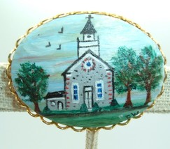 Vintage Cameo Brooch Pin Hand Painted Church Steeple Trees Primitive   - $19.77
