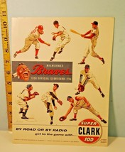 Vintage 1956 Milwaukee Braves Baseball Score Card w/Bob Friend Autograph... - $29.21
