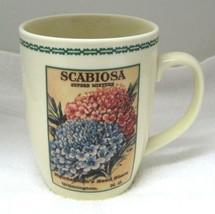 "Mourning Bride Scabiosa Flower Seed Packet Coffee Mug BIG! 4 3/4"" NICE!  - $29.69"
