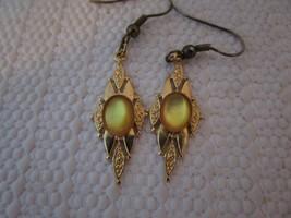 Antique Vintage Art Deco Dangle Drop Gold Earrings Amber Stone Finely De... - $16.77