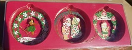 Hawaiian 3 Pack Collectible Metal Merry  Christmas Ornaments Mele Kaliki... - $22.76