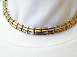 Crown TRIFARI Gold n Silver Plated Links Choker Necklace Signed Estate Vintage  - $22.76