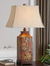 Colorful Floral Table Lamp Umber 32H Linen Shade Chinoiserie Reading Light New - $213.40
