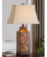 Colorful Floral Table Lamp Umber 32H Linen Shade Chinoiserie Reading Lig... - $213.40