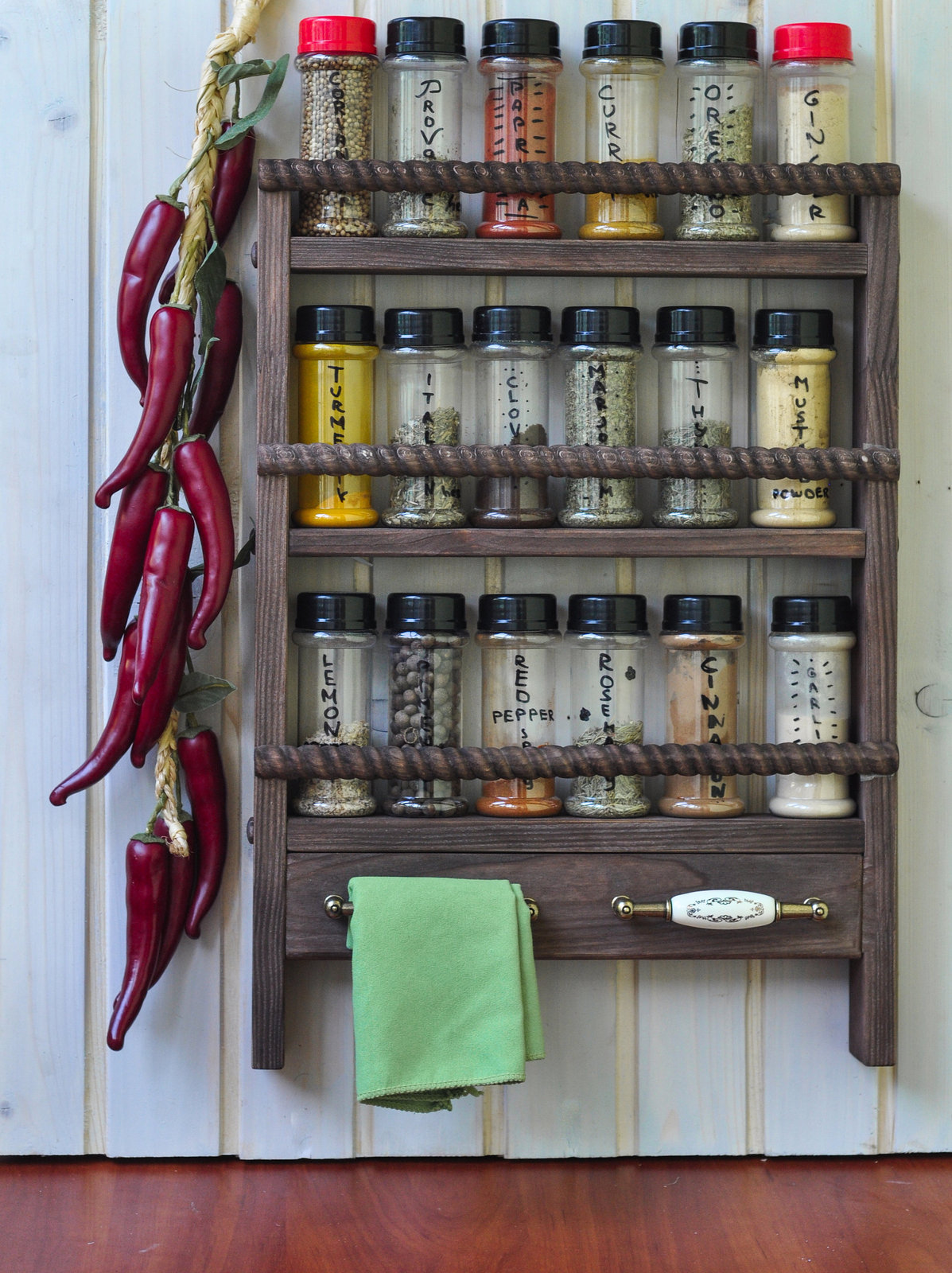Wooden Spice Rack Wall Mount & Towel Holders - Oak Style finish, Rustic Rope Sty