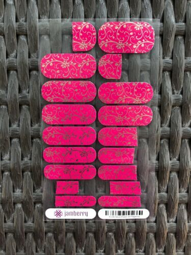 Jamberry Metallic  Silver Floral On Magenta Almost Full Sheet image 2