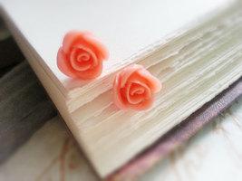 Peach Rose Stud Earrings Hypo Allergenic Surgical Steel Earrings  - $26.00