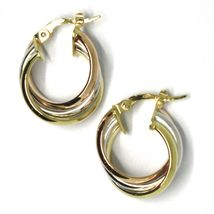 Earrings Circle White Gold, Pink, Yellow 750 18K, Twisted, 3 Tubes, 1.6 CM image 3