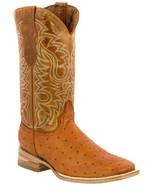 Mens Cognac Ostrich Quill  Pattern Leather Western Wear Cowboy Boots Squ... - €92,80 EUR
