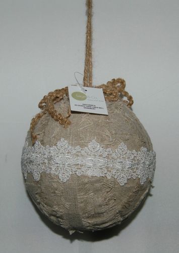 Sage Company XAO13688TA Silvered Torn Linen Ball Ornament 7 inches
