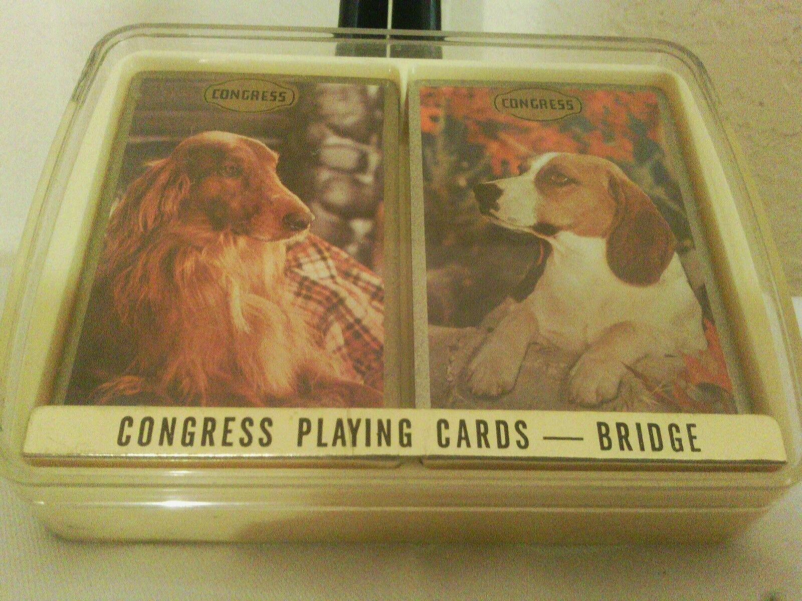 Vintage Congress Bridge Playing Cards Dogs NIB