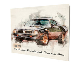1975 Pontiac Firebird Trans Am Black Design 16x20 Aluminum Wall Art - $59.35