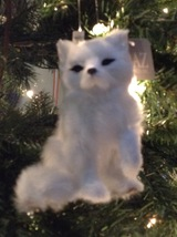 "Christmas Ornament Plush White Fox Raz Faux Fur 5"" Tall - $19.80"
