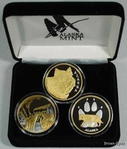 Alaska Mint 3 WOLF SET Gold & Silver Medallion Proof - $296.95