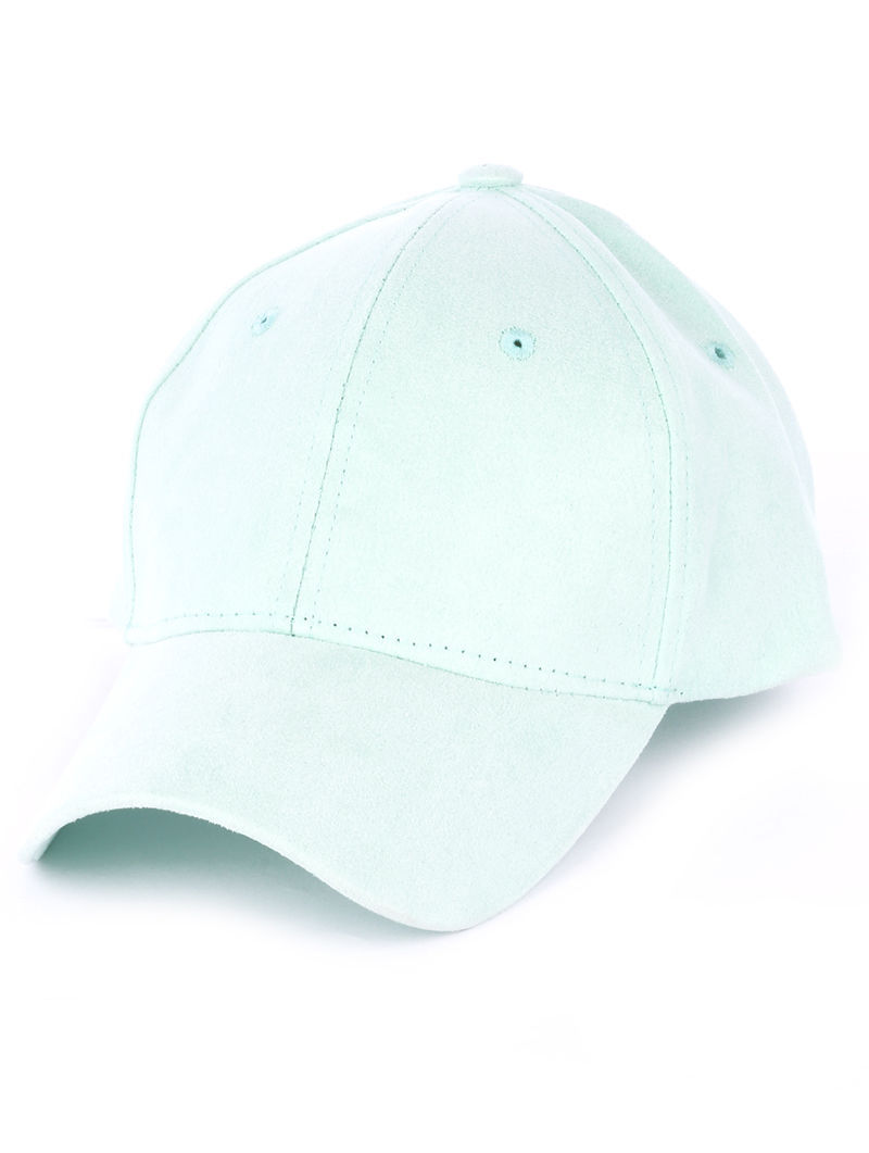 Solid Colored Baseball Cap Fashion Hat - Faux Suede Mint Green