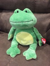 "Ty Pluffies Ponds the Green + Yellow Frog 9"" Plush Tylux 2010 Bead Eyes - $13.98"