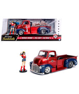 1952 Chevrolet COE Pickup Truck Red and Blue with Wonder Woman Diecast F... - $48.85