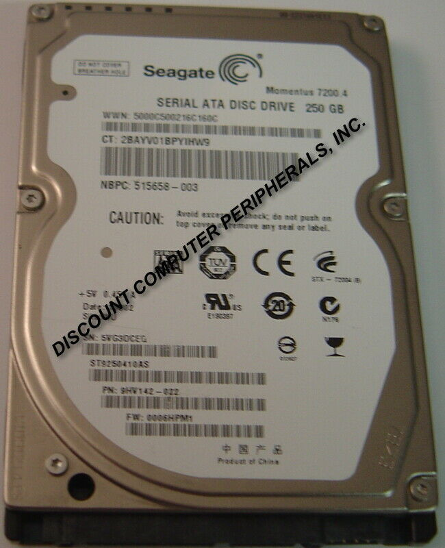 New ST9250410AS Seagate 250GB 7200RPM SATA 2.5in 9.5MM Hard Drive Free USA Ship