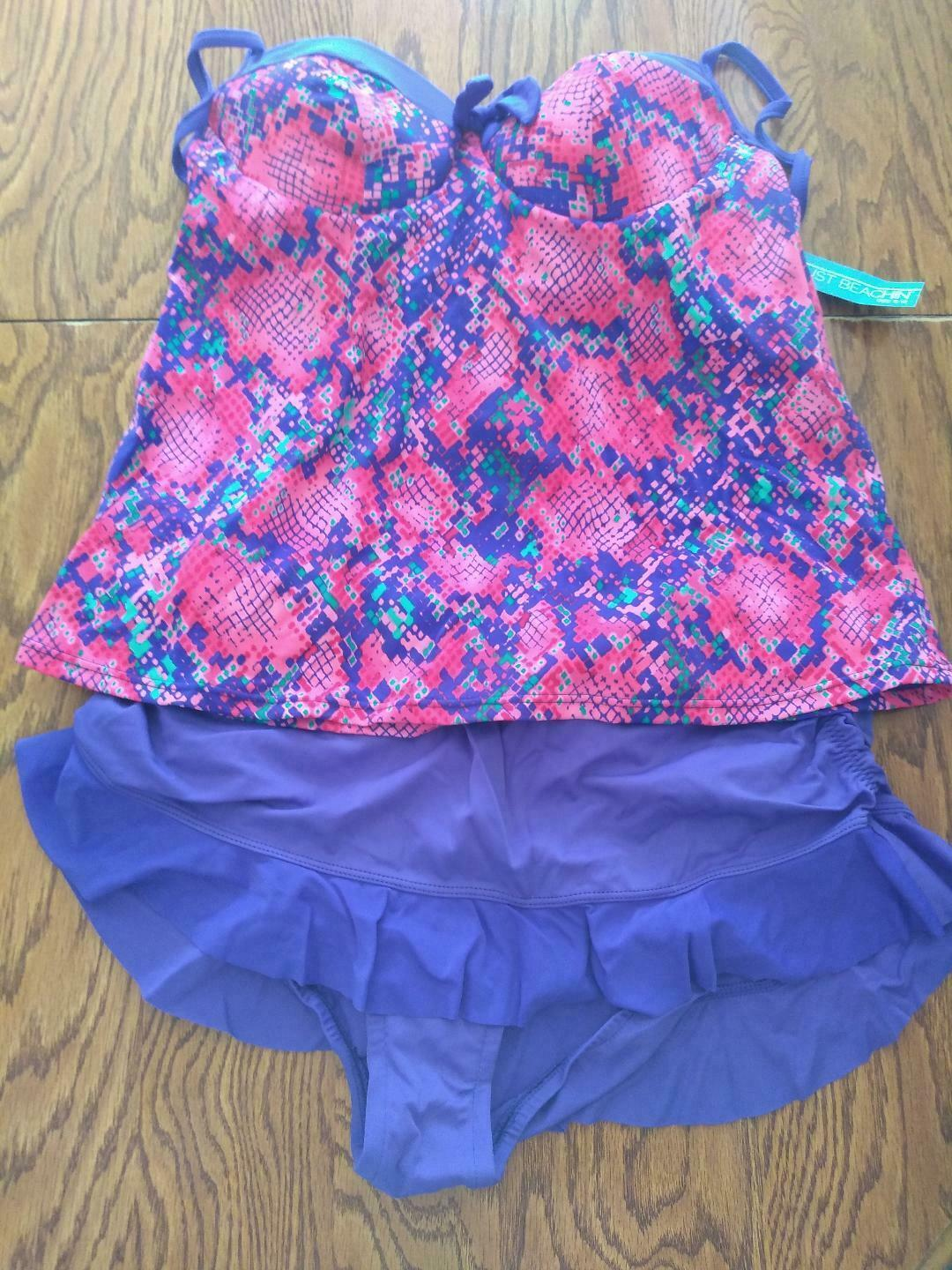 Just Beachin' Shaping Technology Multi Color Two Piece Swim Wear Size 10