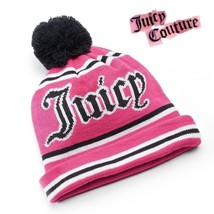 JUICY COUTURE pom pom rolled beanie hat fuchsia pink NEW - $19.07 CAD