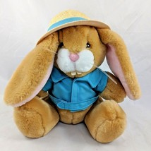 "Dakin Tan Rabbit Plush Safari Straw Hat Jacket 9"" 1988 Vintage Stuffed Animal - $21.67"