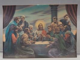 """Vintage 3D Lenticulaire Jésus Christ Dernière Souper 4 """" x6 """" Imprimé - $9.92"""