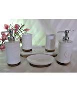 6pc White Ceramic Porcelain Bath Vanity Accessory Set Soap Dish Pump Tra... - $158.39