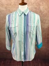 Jones New York 3/4 Flip Cuff Sleeve and Collar Blue Stripe Top Shirt Wom... - $8.58