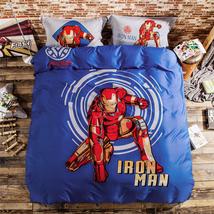 IRON MAN Cartoon BLUE QUEEN SIZE DOUBLE BED SHEET 4PCS Cotton Bed Sheet Set - $88.00