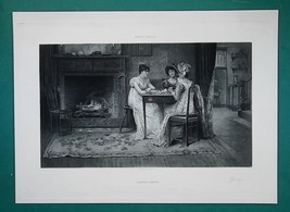 VICTORIAN LADIES Gossip at Fireplace - 1888 Photogravure Print image 2