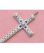 """ANTIQUE ART DECO .57 DIAMOND SAPPHIRE PLATINUM LARGE 2-3/16"""" CROSS PENDA... - $1,672.11"""
