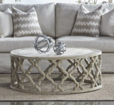 Round Mod Coastal Transitional Coffee Table Weathered Pine Carved Woodwork - $1,125.00