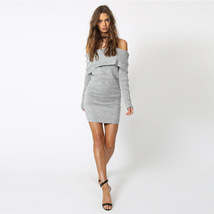 Womens Long Sleeve Off Shoulder Knitted Sweater Dress Mini Bodycon Sweater Dress - $24.99