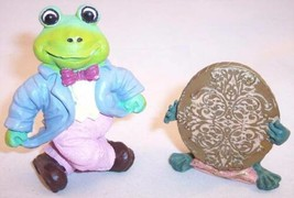 Lot of 2 Really Cute Resin Frog Figurines, Frog Prince & Tuxedo Frog - £5.61 GBP