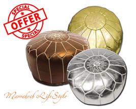 Sale Lot Of 3 Moroccan Pouf Ottoman Gold Silver Bronze Metallic Pouffe Footstool - $127.71+