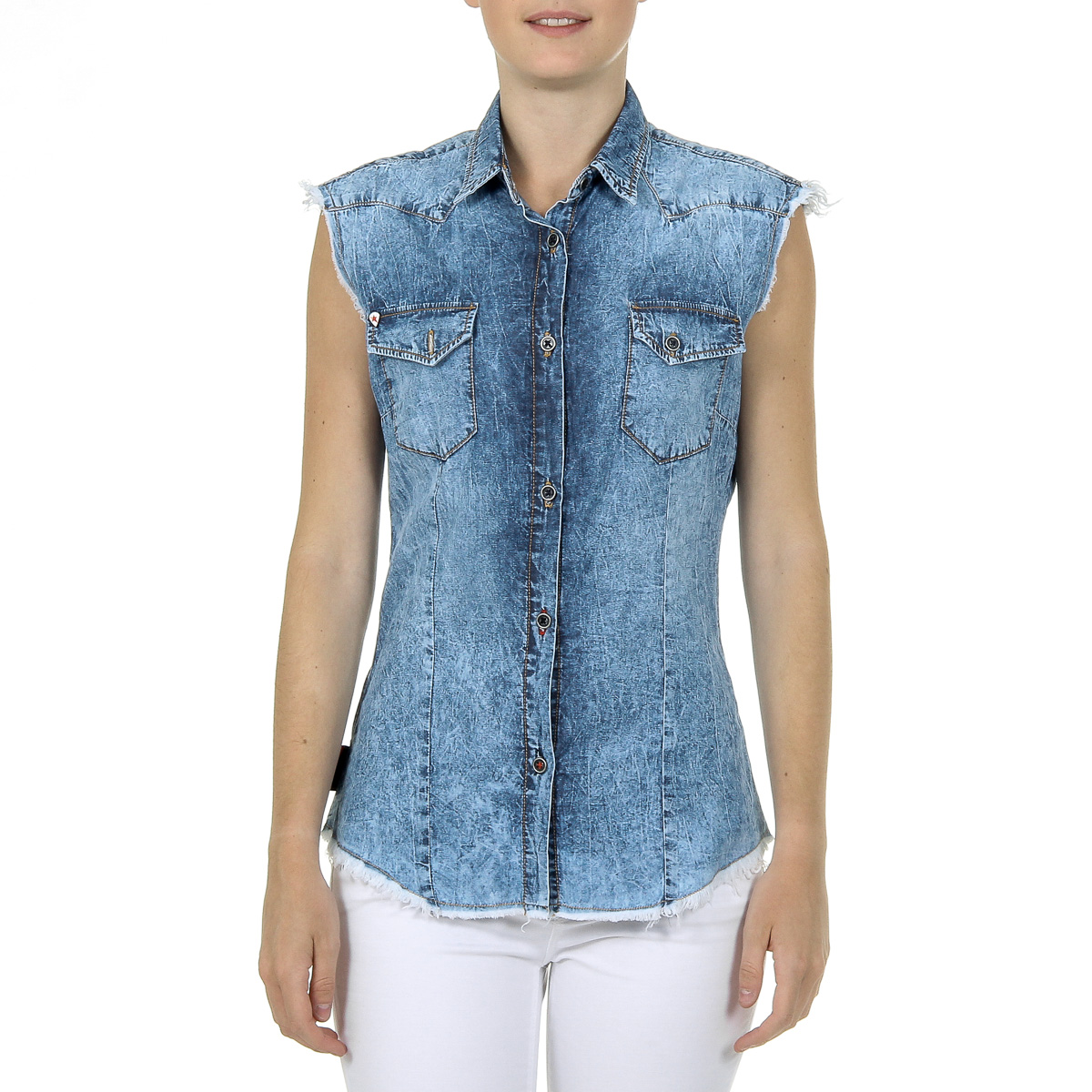 Primary image for Andrew Charles Womens Shirt Sleeveless Denim CAMILIA