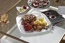 """Mozaik Premium Plastic 14"""" White Square Serving Platters, 2 count image 3"""