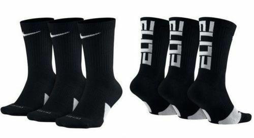 NIKE Elite Everyday Crew Socks 3-Pack Black/White/Multi Men's sz 6~8/8~12/12~15 - $19.95