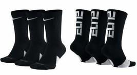 NIKE Elite Everyday Crew Socks 3-Pack Black/White/Multi Men's sz 6~8/8~1... - $19.95